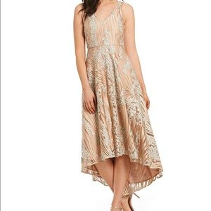 Badgley Mishka hi-low embroidered gown